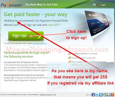 Sign Up with Payoneer Afiliate and get MasterCard