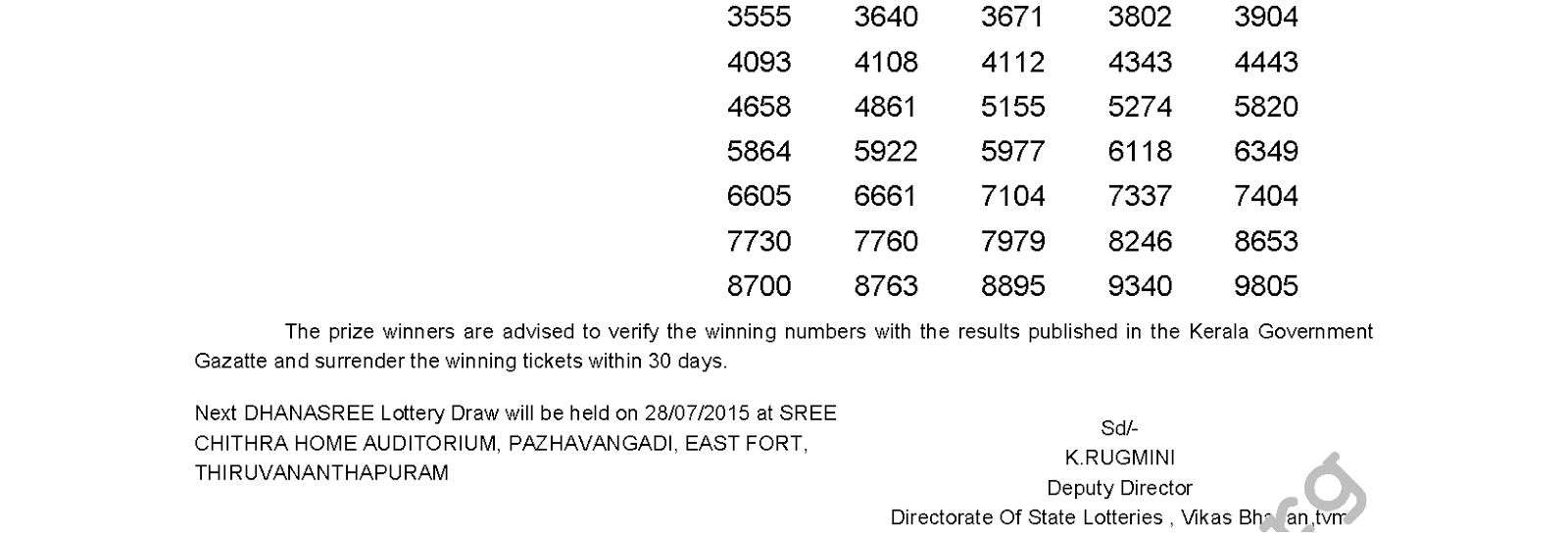 DHANASREE Lottery DS 195 Result 21-7-2015