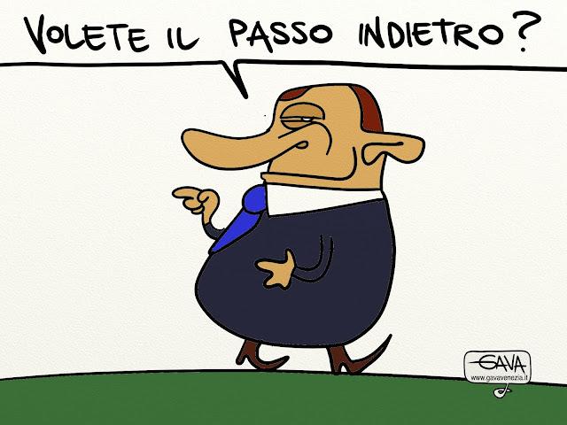 Gava Satira Vignette Berlusconi passo indietro