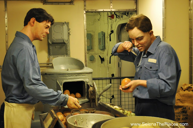HMS Belfast peeling potatos London