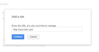Memasukan alamat situs pada halaman dashboard
