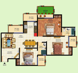 Amrapali Terrace Homes :: Floor Plans 3 BHK + 2T + Terrace