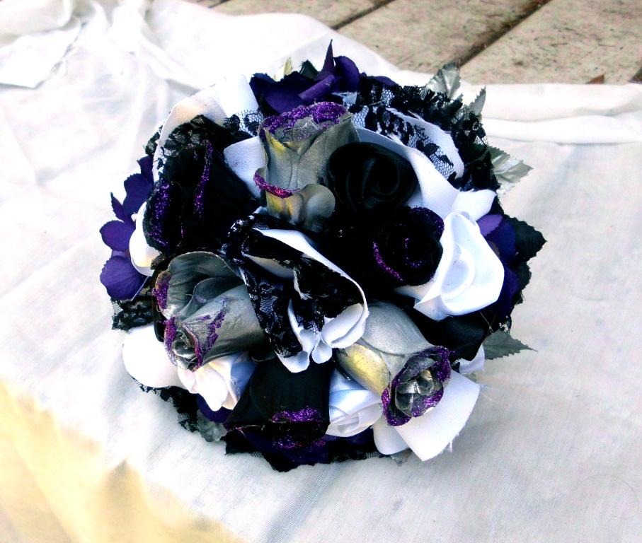 Have it All: Gothic Glitter Wedding Bouquet Purple, Black, Silver ...