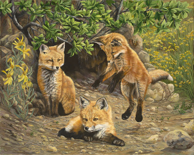 Foxes - Oil on Canvas by: Laura Curtin
