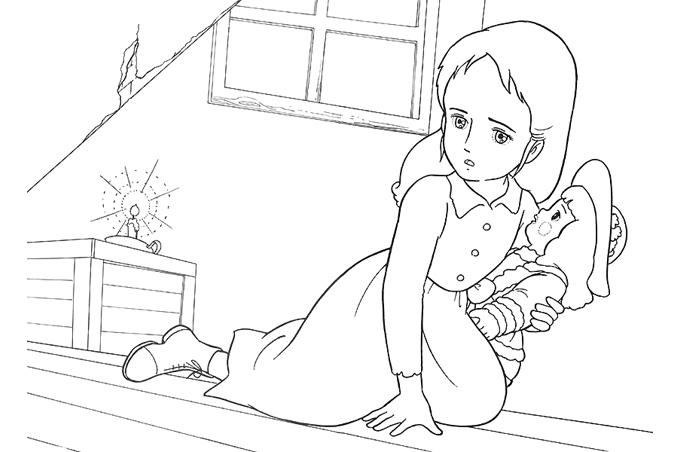صورة بنت خائفة سالي في قبو منزل وتضيء شمعة وتحمل لعبتها للتلوين