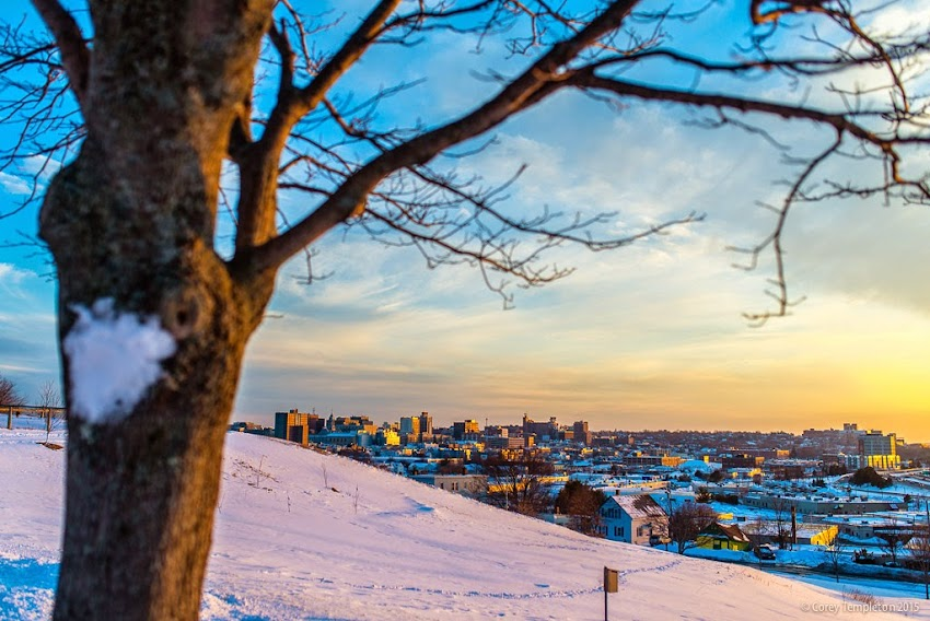 February 2015 Portland, Maine sunset and skyline from North Street photo by Corey Templeton