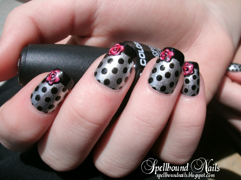 Spring Fling black dots French tips silver red rose nail art