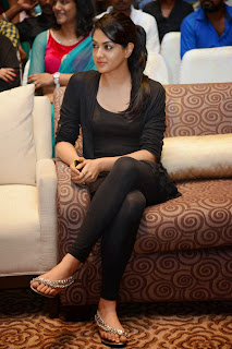 Sakshi Choudhary Pictures in Black Tights at Doosukeltha Telugu Movie Music Launch ~ Celebs Next