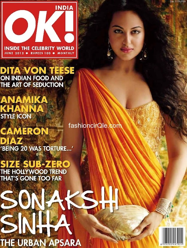 Sonakshi Sinha poses in an orange sari  -  Sonakshi Sinha  OK! India &#8211; June 2012 orange dress