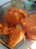 Sweet potato flesh cut up in food processor bowl