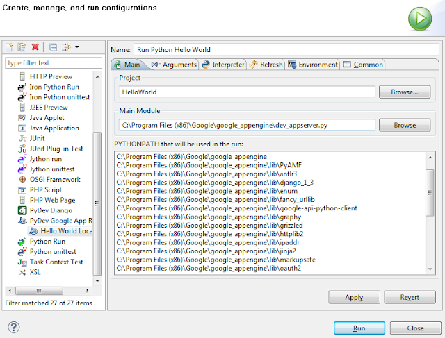 Google App Engine Eclipse Run configuration