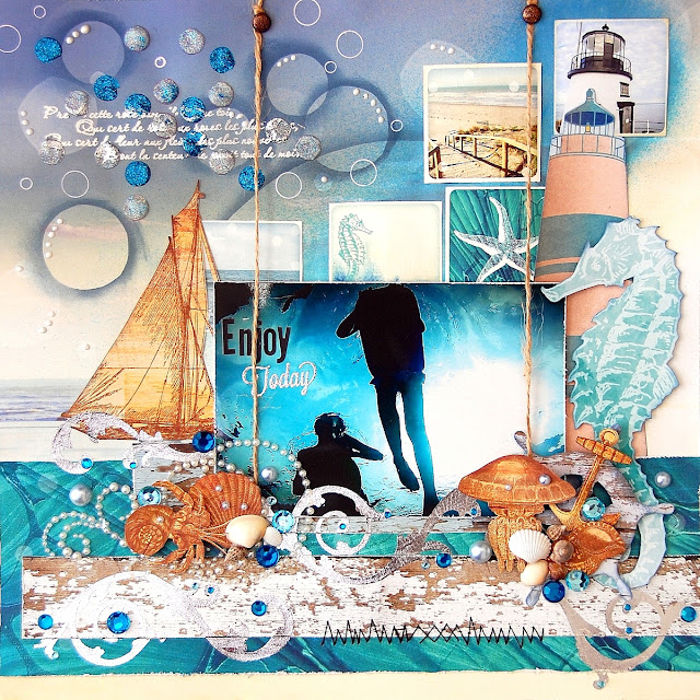Enjoy Today Layout by Irene Tan using BoBunny Boardwalk Collection