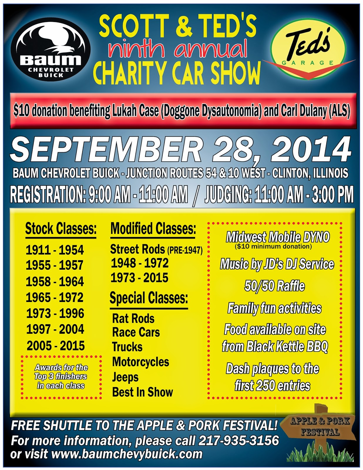 Baum Chevrolet Buick Scott Teds Th Annual Charity Car Show Info - Baum chevrolet clinton il car show