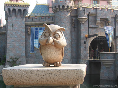 Disneyland castle owl Sleeping Beauty statue