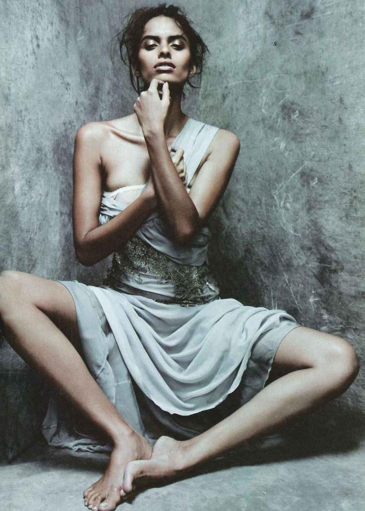 Lakshmi Menon wearing Alberta Ferretti in Vanity Fair Italia September 2011 (photography: Rafael Stahelin, styling: Ye Young Kim)
