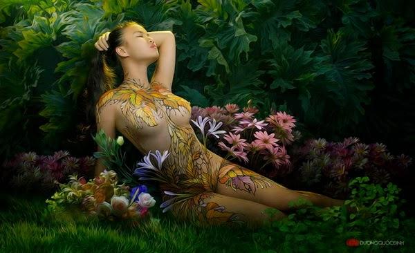 Ảnh gái xinh Body painting của Dương quốc định