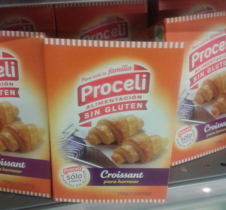 Proceli also make gluten free Croissants. Sin Gluten (aka Gluten Free) food from Spain