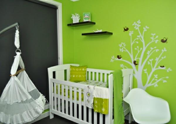 Cuartos de beb en color verde dormitorios colores y estilos - Paredes en verde ...