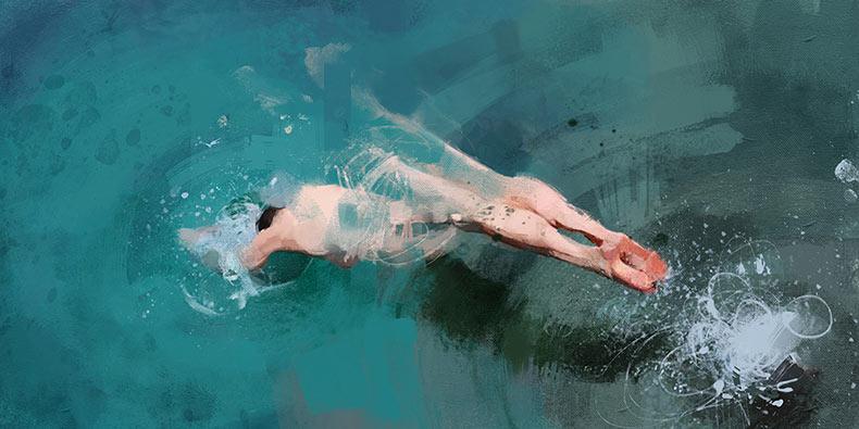 Exuberantes pinturas de solitarios nadadores de Pedro Covo