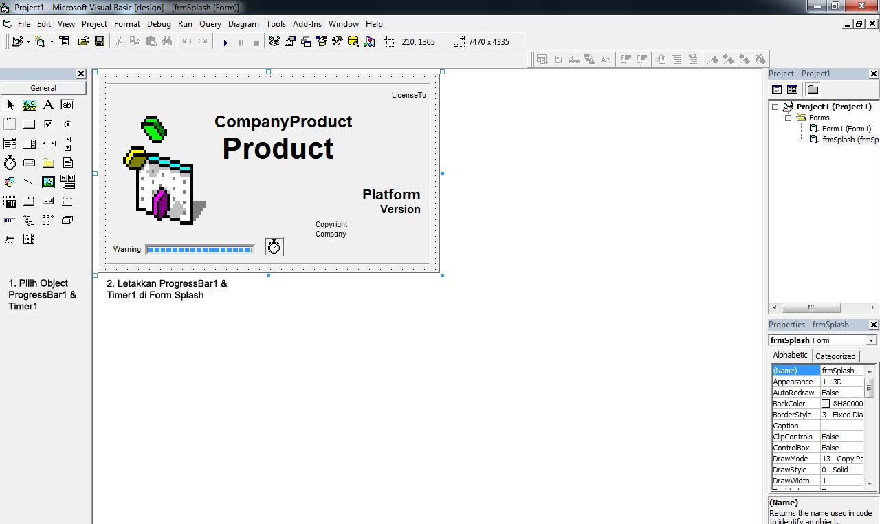 Meletakkan object ProgressBar1 dan Timer1 ke dalam frmSplash