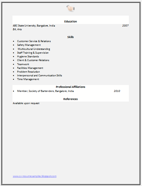 free download link for bartender resume sample - Bartender Resume Sample 2 2