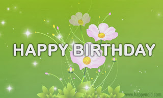 Happy Birthday wishes Green bg white Flower