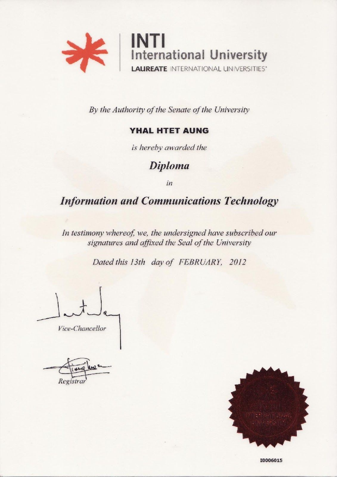 Diploma in Information and Communication Technology, INTI University (Malaysia)
