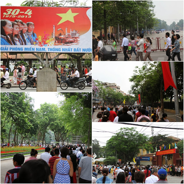 A long queue of locals outside of Hanoi and tourists were visiting Ho Chi Minh Mausoleum during the long weekend of Vietnam Reunification Day in April