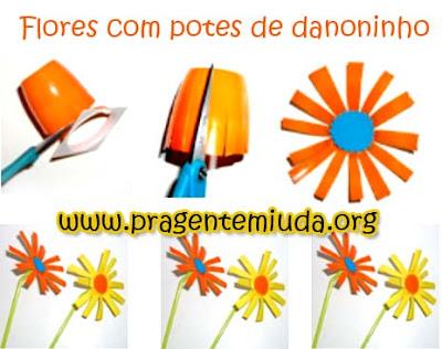 flores com reciclagem de potes de danoninho