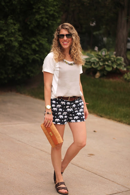 jeweled collar top, elephant print shorts, straw clutch, birkenstock sandals