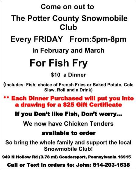 3-30 Fish Fry, PC Snowmobile Clubhouse
