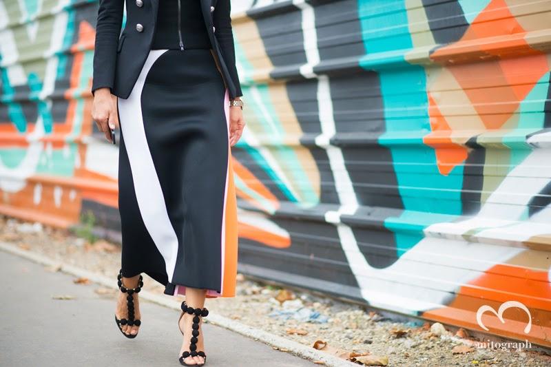 Christine Centenera wears Balmain Jacket Josh Goot Skirt Alaia Heels