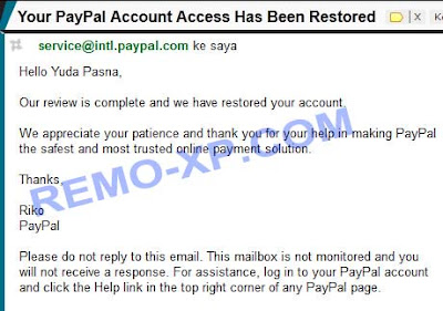 paypal restored
