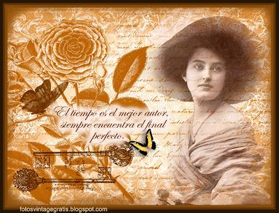 fondo vintage con dama victoriana y flores