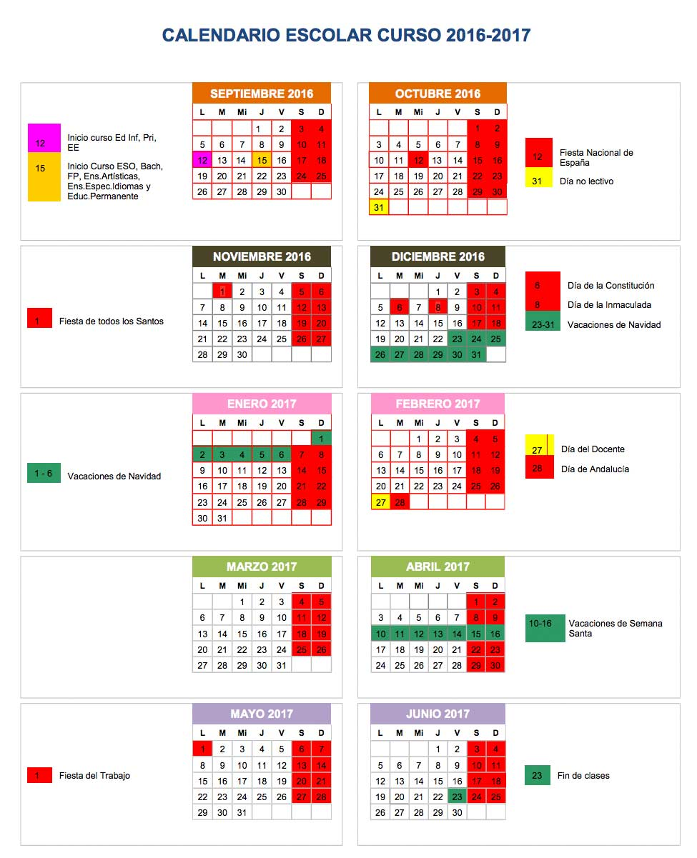 Calendario Escolar Curso 2016-2017