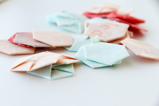 modern mint and coral no-sew hexies and tutorial | by Lovely and Enough