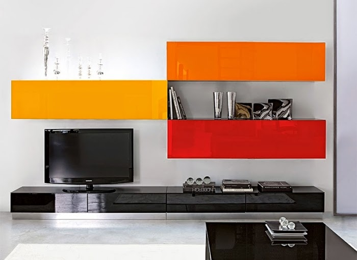 Living Room Wall Units With Storage: Wall Unit With Strong Orange And Red  Plastic