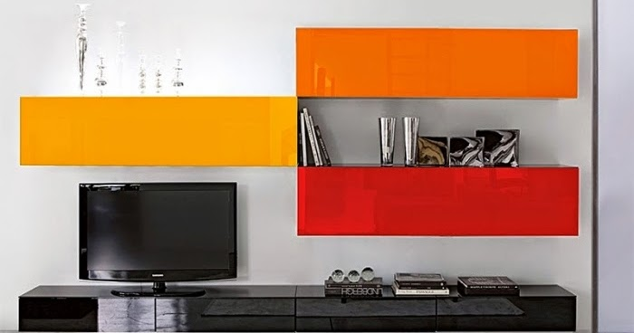 living room wall units with storage wall unit with strong orange and