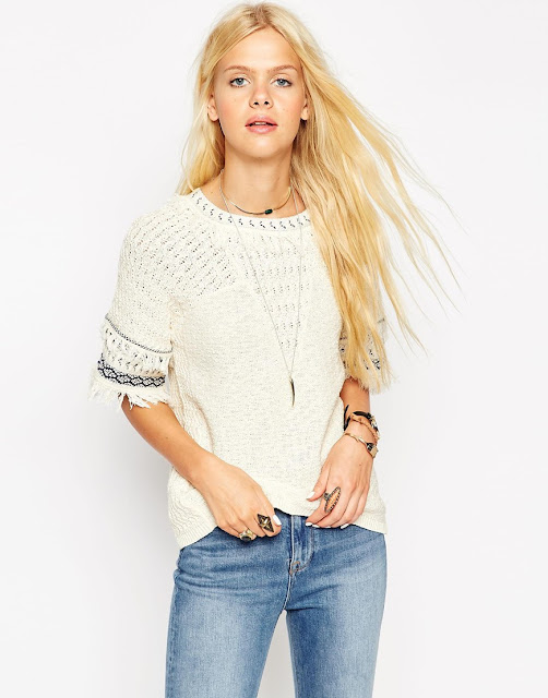 cream knitted top