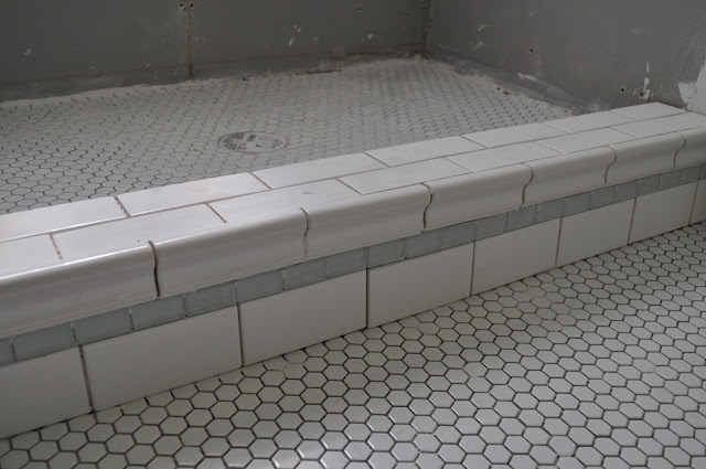 bathroom tile, reno, hex tile, sea glass, DIY, bathroom reno, grout