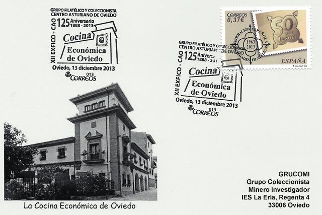 Tarjeta con el matasellos del 125 aniversario de la Cocina Económica de Oviedo