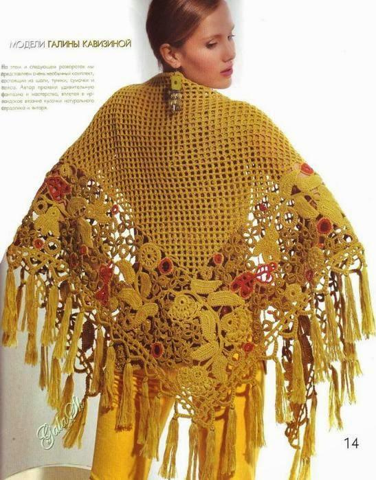 Patrones de Chal super elegante crochet irlandés