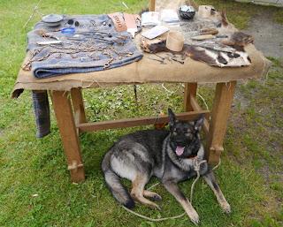 Auslage von Trommer Archäotechnik mit Hund Joda
