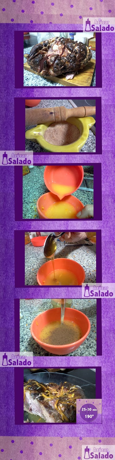 jamón ahumado, naranja, miel