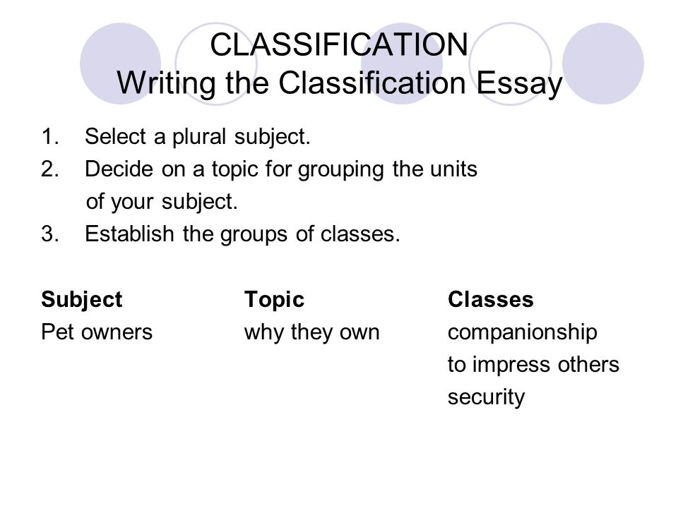 Classification division essay topics