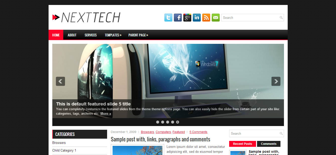 Wordpress template is a clean and simple tech related blogger template