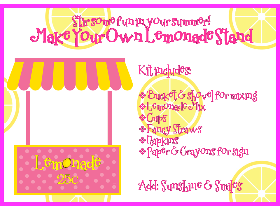 Lemonade Stand Kit FREE Printable And Summer Camp Link