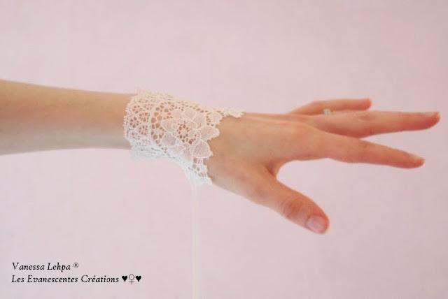 beau bracelet de dentelle de calais ivoire, création francaise éco responsable, par la créatrice Vanessa Lekpa