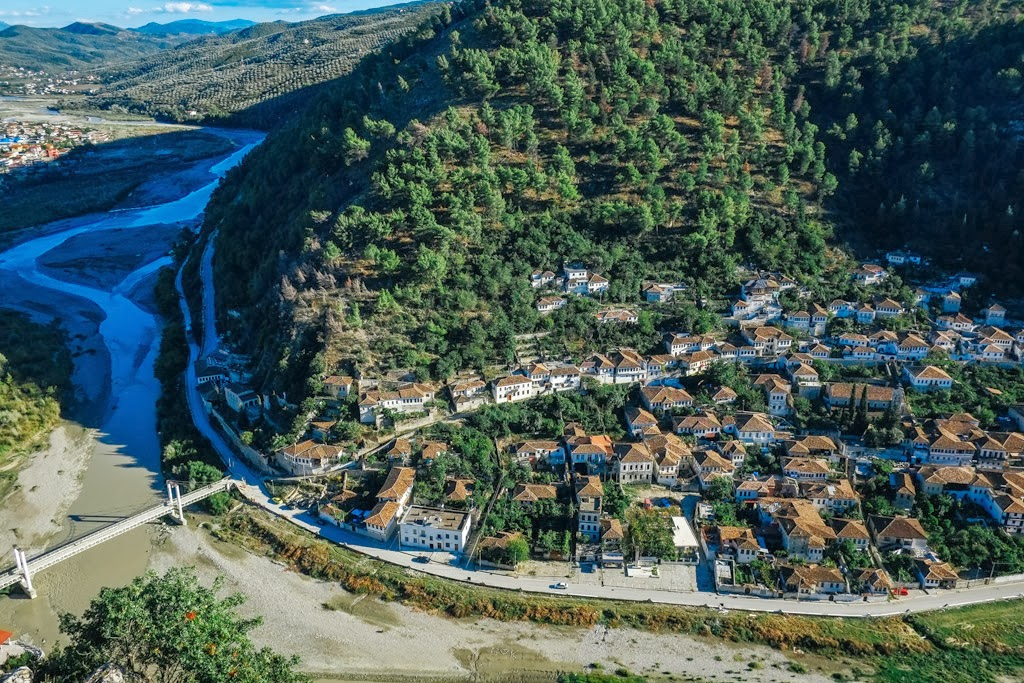Looking down on the inland city of Berat, Albania