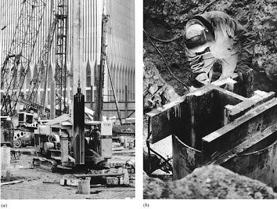 Installing a rock caisson. (a) The shaft of the caisson has been drilled through softer soil to the rock beneath and cased with a steel pipe. A churn drill is being lowered into the casing to begin advancing the hole into the rock. (b) When the hole has penetrated the required distance into the rock stratum, a heavy steel H-section is lowered into the hole and suspended on steel channels across the mouth of the casing. The space between the casing and the H-section is then fi lled with concrete, producing a caisson with a very high load-carrying capacity because of the composite structural action of the steel and the concrete.